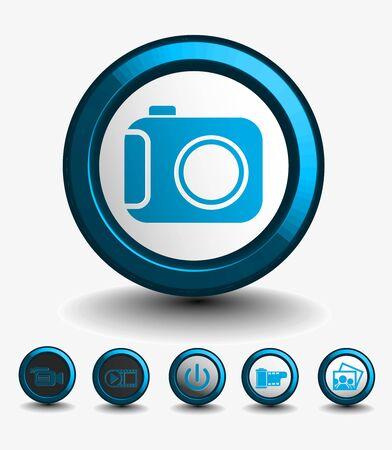 icône de médias sur le bouton définie illustration originale.