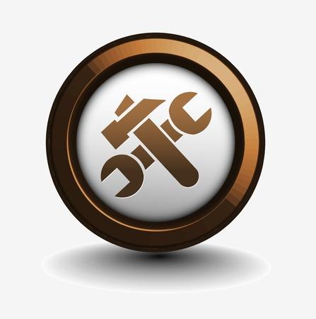tornavida: vector glossy setting web icon design element. Çizim