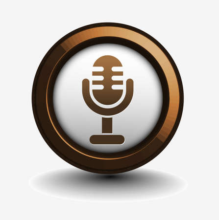 podcasting: 3d glossy mic icon, blue isolated on black background.