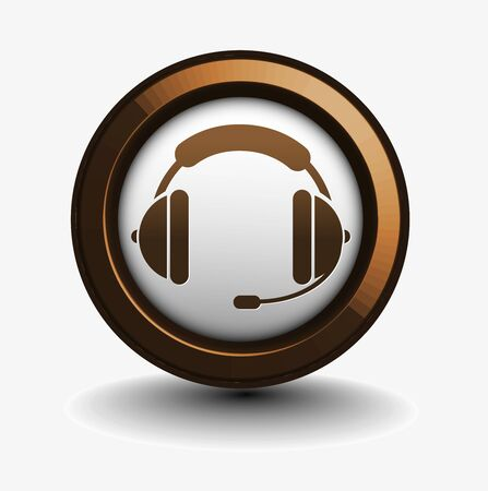 helpdesk: vector glossy headset web icon design element.