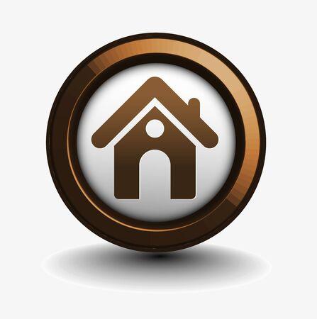 icone maison: 3d vecteur ic�ne du design � la maison avec isol� sur fond blanc.