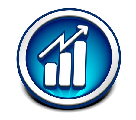 3d vector glossy business graph web icon design element. Vector