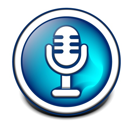 podcast: 3d glossy mic icon, blue isolated on black background.