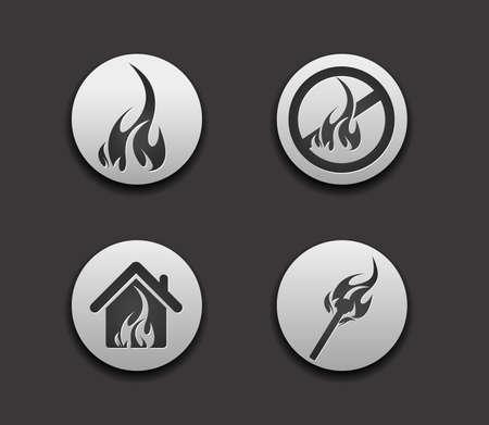 vector fire web icon set design element.  Vector