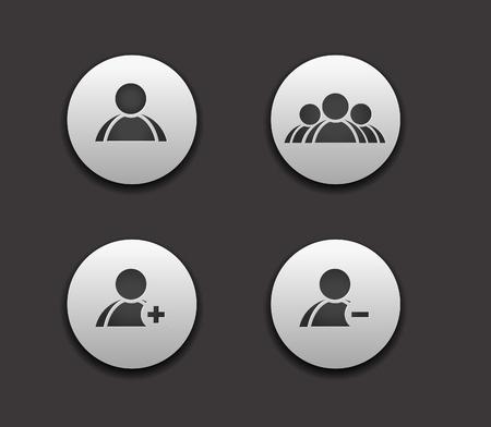 사용자: vector add delete  & user group web icon set design element.
