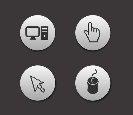 Electronic computer icon set. Internet Button vector illustration. Vector