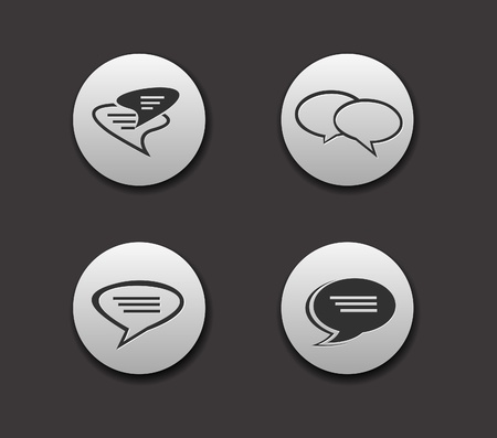 Set of Speech bubbles icon on circle button collection Original Illustration. Vector