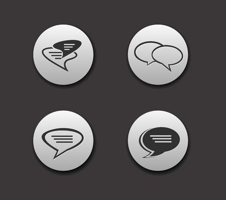 Set of Speech bubbles icon on circle button collection Original Illustration. Stock Vector - 9559291
