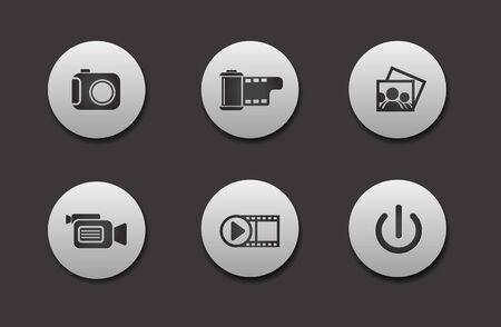 Conjunto de diferentes gráficos de iconos de medios para diseño web Ilustración de vector