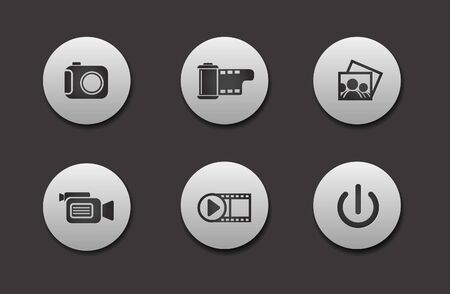 film projector: Set of different Media Icons graphics for web design Illustration