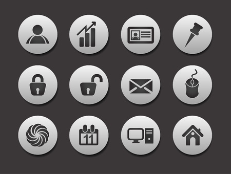 Set of Business Icons on circle button collection Original Illustration. Vector