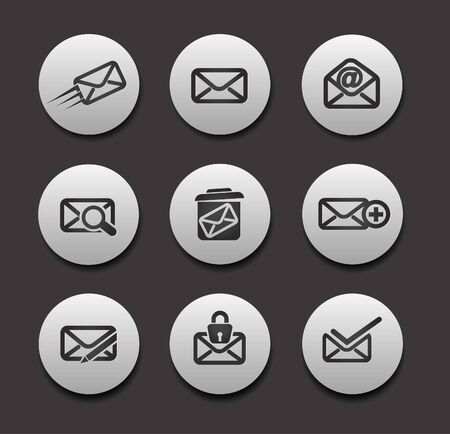 Set of Email Icons graphics for web icon collections.