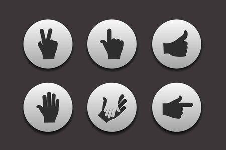 Définissez des graphiques de main icônes pour les collections de design web.