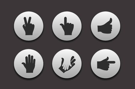 grip: Set of Hand Icons graphics for web design collections. Illustration