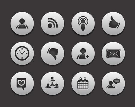 Set di 12 icone social media networking vettoriale web.