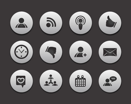 like button: Set of 12 social media networking vector web icons.