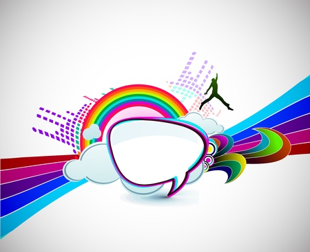 rainbow wave isolated on white happy man background. Stock Vector - 9559393