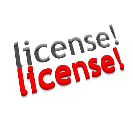 license: 3d vector license text design with isolated on white.