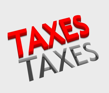 taxpayer: 3d vector taxes text design with isolated on white.