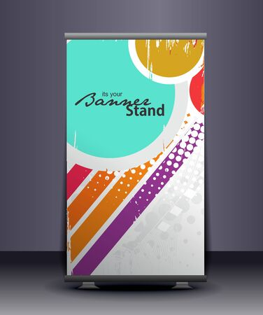 exhibition: a rolup display with stand banner template design, vector illustration.