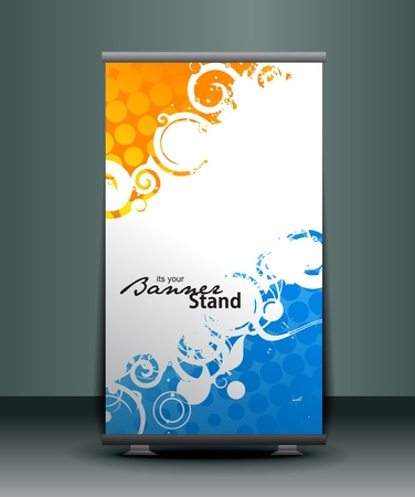banner stand: a rolup display with stand banner template design, vector illustration.