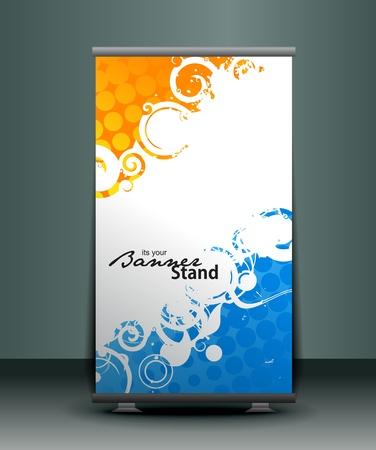 banner orizzontali: rolup un display dal design modello striscione stand, illustrazione vettoriale.