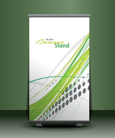a rolup display with stand banner template design, vector illustration. Stock Vector - 9610771