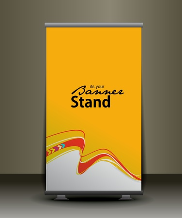 banner ads: a rolup display with stand banner template design, vector illustration.