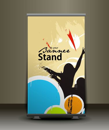 index card: a rolup display with stand banner template design, vector illustration.