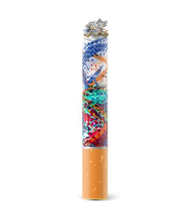 tobacco product: colorful cigarette isolated on white background.
