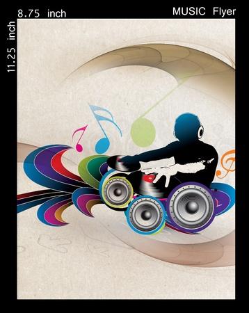 disk jockey: Illustration on a music Dj flyerposter design.
