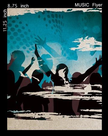 Illustration on a music night flyer/poster design. Stock Illustration - 9992278