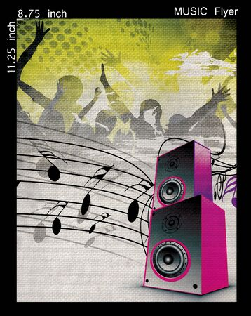 disk jockey: Illustration on a music flyerposter design.