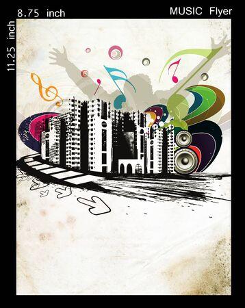 Illustration on a music flyer/poster design. Stock Illustration - 9992306