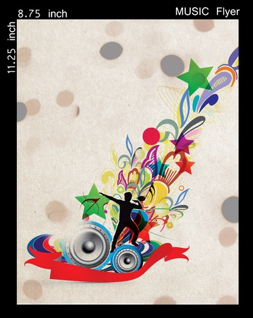 Illustration on a music flyer/poster design. Stock Illustration - 9992292