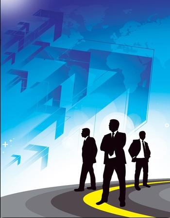 futuristic man: Corporate Business Flyerpostar background illustration.  Stock Photo