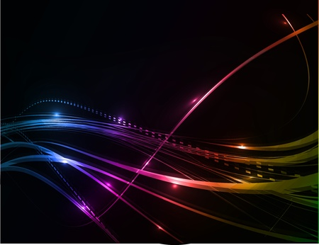 Abstract glowing lines of llight with raibow colours background. Vector