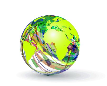 rainbow sphere: abstract globe made from colorful stripes.
