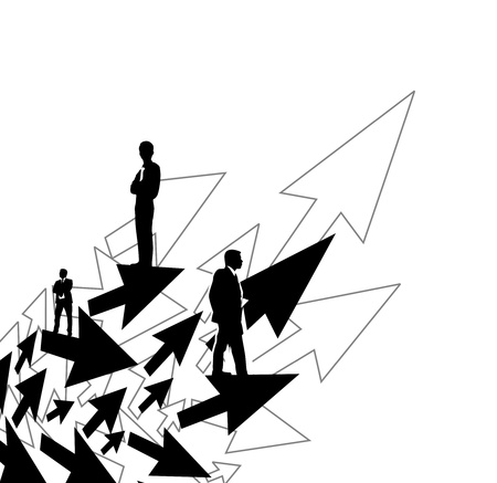 listeners: Illustration of business people on arrow background