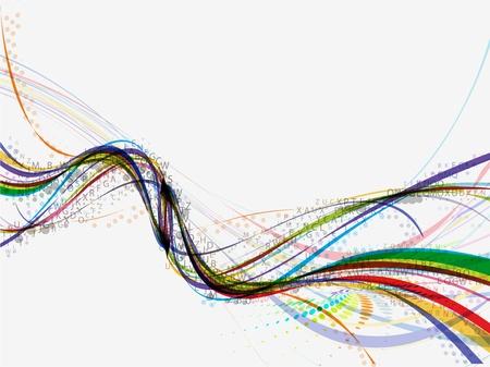 illustration line art: Abstract wave background composition - vector illustration