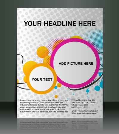 poster template: Vector editable Presentation of FlyerPoster design content background.