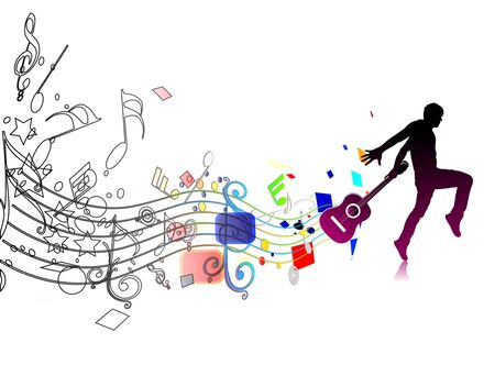 modern dancer: silhouetted a man dancing enjoy music in music wave background, vector illustration
