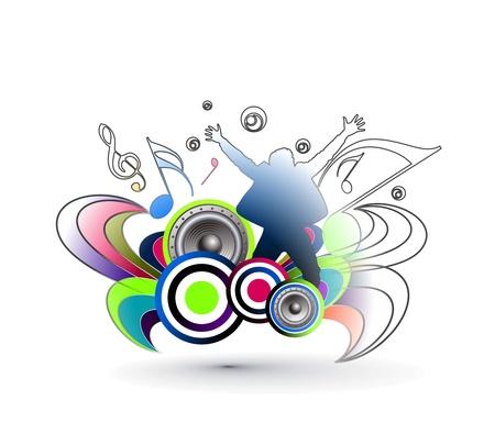 clubbers: El hombre bailando con fondo multicolor, elemento de dise�o.
