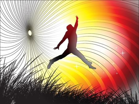 out of doors: A young man is jumping in field, vector illustration.