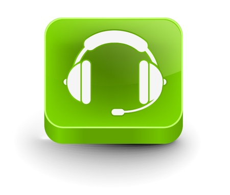 helpdesk: vector glossy headset web icon design element.
