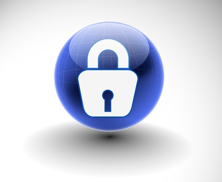 padlocks: 3d glossy lock icon, blue isolated on white background. Illustration