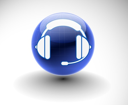 computer operator: vector glossy headset web icon design element.