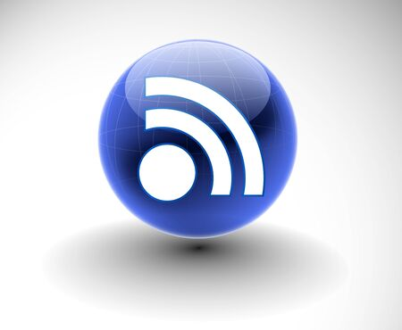 3d vector rss icon design element.  Vector