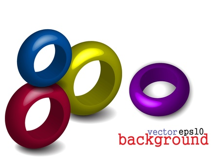 3d Abstract circle ring design. Vector