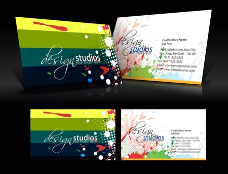 blank business card: vector grunge business card set , elements for design.  Illustration